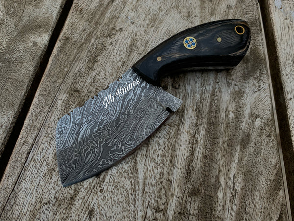 |NB KNIVES| CUSTOM HANDMADE DAMASCUS MINI CLEAVER KNIFE HANDLE HARDWOOD