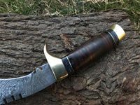 |NB KNIVES| HAND MADE DAMASCUS KUKRI BOWIE KNIFE - STACKED LEATHER - BRASS GUARD