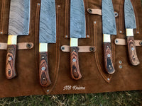 |NB KNIVES| CUSTOM HANDMADE DAMASCUS 5 PCS CHEF SET WITH LEATHER ROLL KIT