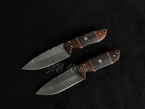 |NB KNIVES| Custom Handmade Damascus Lot of 2 Hunting Knife Handle Rose wood and Micarta