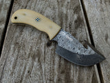|NB KNIVES| CUSTOM HANDMADE DAMASCUS GUTHOOK SKINNER KNIFE HANDLE CAMEL BONE
