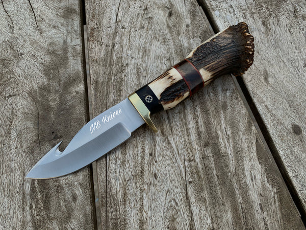 |NB KNIVES| CUSTOM HANDMADE D2 STEEL STAGHORN GUTHOOK KNIFE WITH LEATHER SHEATH
