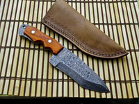 CUSTOM HANDMADE DAMASCUS TRACKER KNIFE WITH LEATHER SHEATH