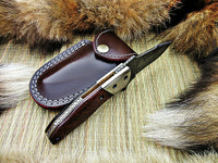 CUSTOM HANDMADE DAMASCUS FOLDING KNIFE WITH LEATHER SHEATH