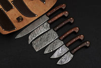 CUSTOM HANDMADE DAMASCUS STEEL CHEF SET WITH ROSE WOOD