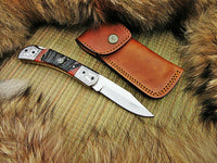 CUSTOM HANDMDAE D2 STEEL FOLDING KNIFE WITH LEATHER SHEATH
