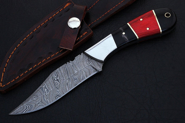 CUSTOM HANDMADE DAMASCUS HUNTING KNIFE HANDLE Genuine Red/Black Horn Handle with Brass