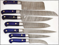 CUSTOM MADE DAMASCUS BLADE 7 Pc's. KITCHEN KNIVES SET