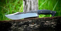 CUSTOM HANDMADE HIGH CARBON STEEL HUNTING KNIFE WITH LEATHER SHEATH