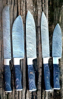 CUSTOM HANDMADE DAMASCUS 5 PCS CHEF SET WITH LEATHER ROLL KIT