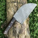 CUSTOM HANDMADE DAMASCUS CLEAVER KITCHEN KNIFE WITH LEATHER SHEATH