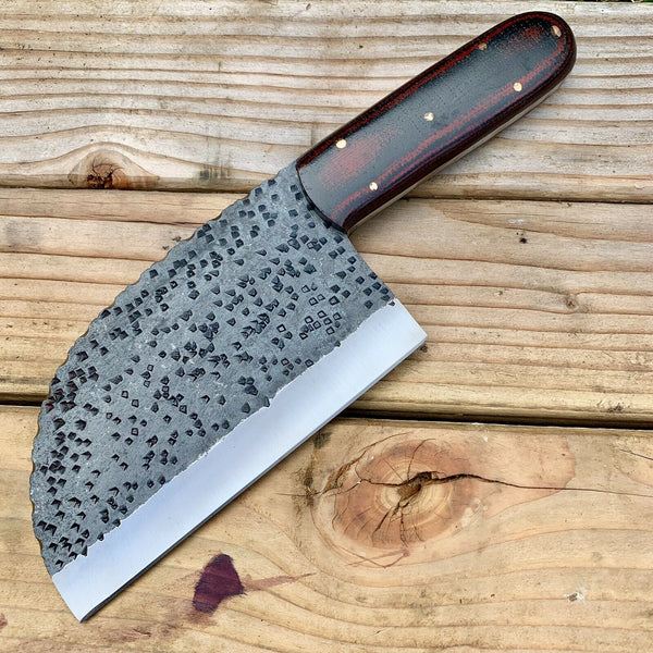 CUSTOM HAND FORGE CHOPPER KNIFE WITH LEATHER SHEATH