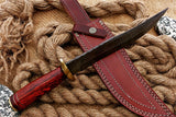 CUSTOM HANDMADE DAMASCUS HUNTING BOWIE KNIFE WITH LEATHER SHEATH