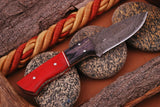CUSTOM HANDMADE DAMASCUS STEEL HUNTING KNIFE HANDLE HARDWOOD