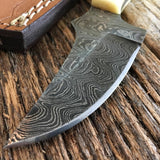CUSTOM HANDMADE DAMASCUS HUNTING KNIFE HANDLE BONE