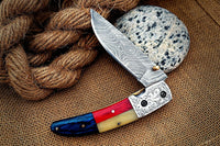 BEAUTIFUL HAND MADE DAMASCUS STEEL FOLDING KNIFE  (LINER LOCK)