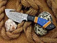 |NB KNIVES| CUSTOM HANDMADE DAMASCUS GUTHOOK HUNTING KNIFE Handle Material , horn ,olivewood,colored bone