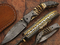 CUSTOM HANDMADE DAMASCUS FOLDING KNIFE WITH RAM HORN