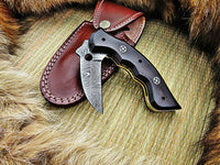 CUSTOM HANDMADE DAMASCUS POCKET KNIFE WITH LEATHER SHEATH