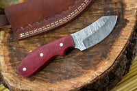 CUSTOM HANDMADE DAMASCUS HUNTING KNIFE HANDLE HARDWOOD
