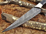 "Damascus steel slicer kitchen chef Knife 13.5"" long custom made 8"" blade"