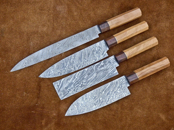 CUSTOM HANDMADE SET OF 4 KITCHEN CHEF KNIVES DAMASCUS STEEL WALNUT AND ROSE WOOD