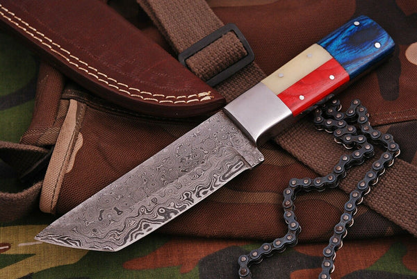 CUSTOM HANDMADE DAMASCUS TANTO BLADE HUNTING KNIFE HANDLE CAMEL BONE AND HARDWOOD