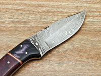 "CUSTOM HAND FORGED DAMASCUS STEEL HUNTING KNIFE ""NATURAL WOOD"