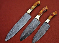 "Custom Handmade Damascus Steel Chef knife""Fired Camel Bone Handle"
