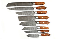 CUSTOM MADE DAMASCUS BLADE 8Pcs. CHEF/KITCHEN KNIVES SET