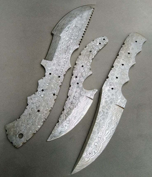 LOT OF 3 PIECES CUSTOM HANDE FORGE DAMASCUS BLANK BLADES