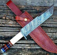|NB KNIVES| CUSTOM HANDMADE DAMASCUS STEEL TANTO BLADE KNIFE WITH LEATHER SHEATH