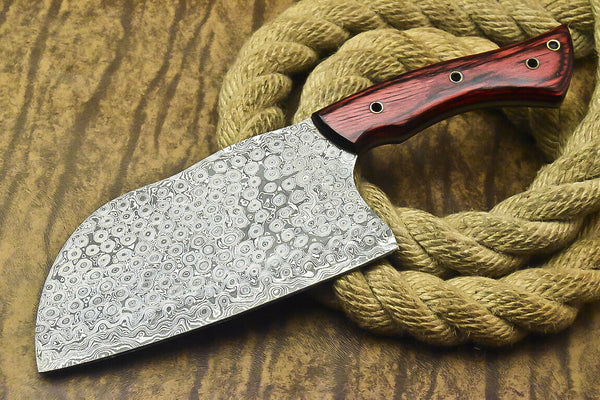 CUSTOM HANDMADE DAMASCUS CHOPPER KNIFE WITH LEATHER SHEATH