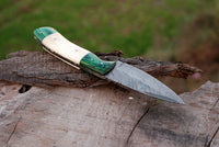 CUSTOM HANDMADE DAMASCUS STEEL HUNTING KNIFE HANDLE CAMEL BONE HARDWOOD