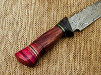 "BEAUTIFUL CUSTOM HAND FORGED DAMASCUS STEEL HUNTING KNIFE ""HARD WOOD"