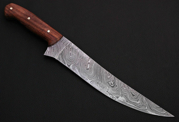 CUSTOM HANDMADE DAMASCUS FILLET KNIFE WITH LEATHER SHEATH