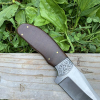 CUSTOM HANDMADE D2 STEEL HUNTING KNIFE HANDLE ROSE WOOD