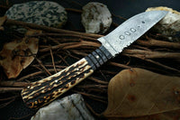 |NB KNIVES| CUSTOM HANDMADE DAMASCUS STEEL STAG HORN HUNTING KNIFE Handle Material Spanish Micarta