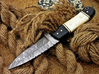 CUSTOM HANDMADE DAMASCUS HUNTING KNIFE Handle Material , horn , bone