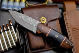 Handmade Damascus Walnut-Burl Wood-Hunting-Utility-Blade EDC Knife HANDLE = Walnut-Burl Wood