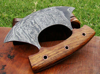 CUSTOM HANDMADE DAMASCUS ULU KNIFE WITH LEATHER SHEATH