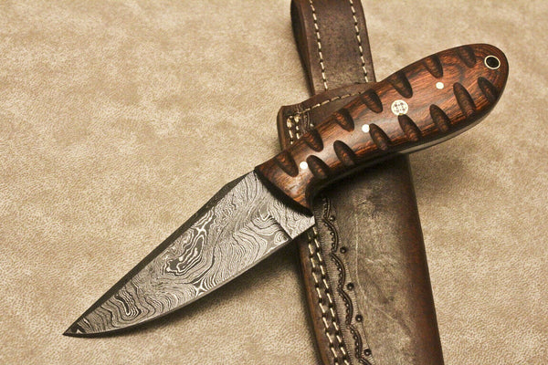 CUSTOM HANDMADE DAMASCUS FIXED BLADE HUNTING KNIFE HARDWOOD