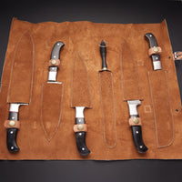 6 PCS DAMASCUS CHEF/KITCHEN KNIFE + LEATHER ROLL KIT