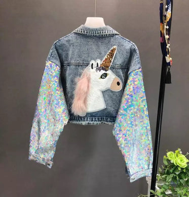 Unicorn Layers Denim Sequin Jacket