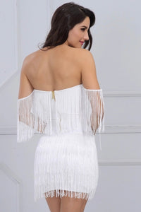 Coco Fringe strapless Mini Dress