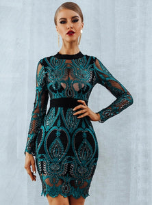 Extra Sparkle Long Sleeve See-Through Dress