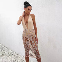Load image into Gallery viewer, Nude Moves Halter Backless Laced Dress SALE