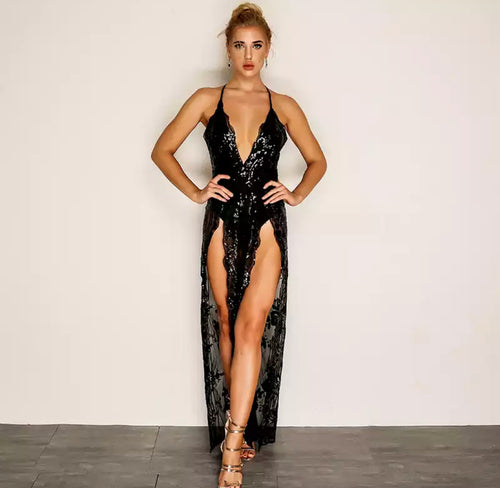 Laced & Dazed Sequin Sexy See Through Jumpsuit SALE