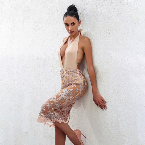Nude Moves Halter Backless Laced Dress SALE