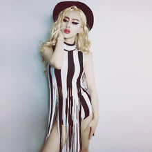 Load image into Gallery viewer, Stripe it Down Tassel Striped Festival Bodysuit